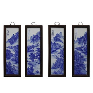 Chinese Blue White Porcelain Water Mountain Scenery Wall Panel Set For Sale