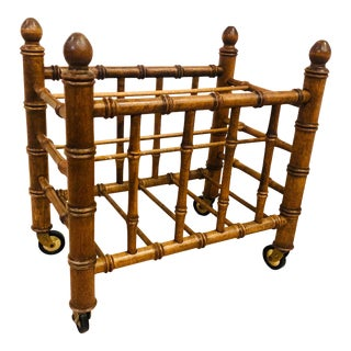 Faux Bamboo Canterbury or Magazine Rack For Sale