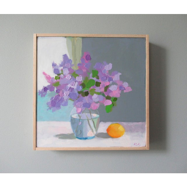 The lilacs are from my garden. A semi-abstract still life, painted with brushes and a palette knife. This painting is 8 x...