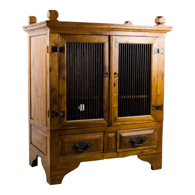 Vintage Indonesian Double Hinged Iron and Teak Cabinet For Sale