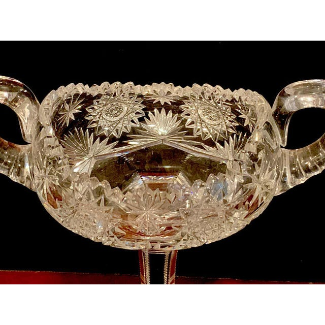 Traditional American Brilliant Cut Glass Footed Double, Handled Nappy For Sale - Image 3 of 11