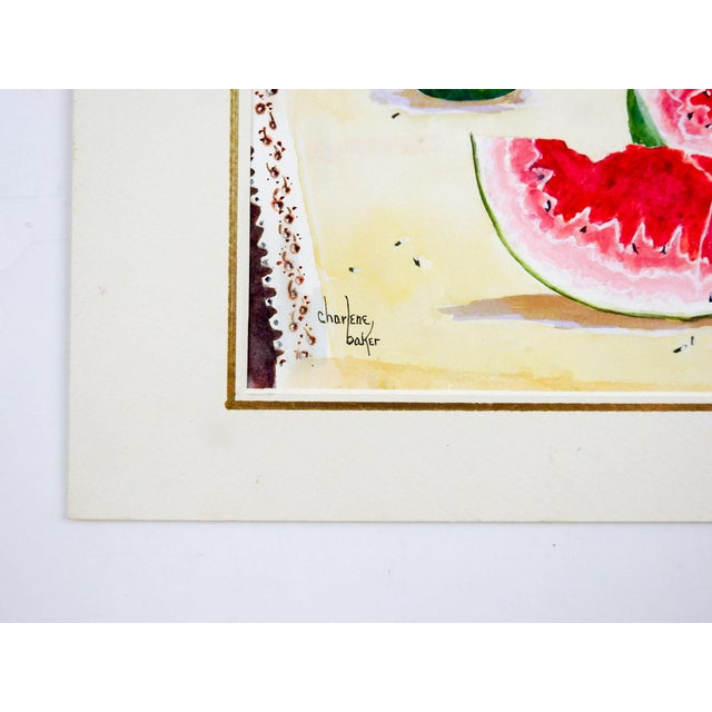 Americana Watermelon Still Life Watercolor Painting For Sale - Image 3 of 4