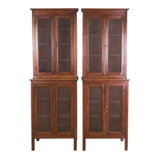 French Provincial Metal Mesh Pantry Cabinets - a Pair For Sale