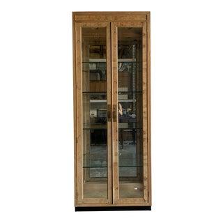 Drexel Burl-Wood Illuminated Cabinet For Sale