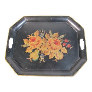 Black Hand Painted Orange Floral Tole Tray For Sale