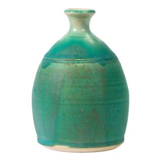 Modern Blue-Glazed Studio Pottery Vase For Sale
