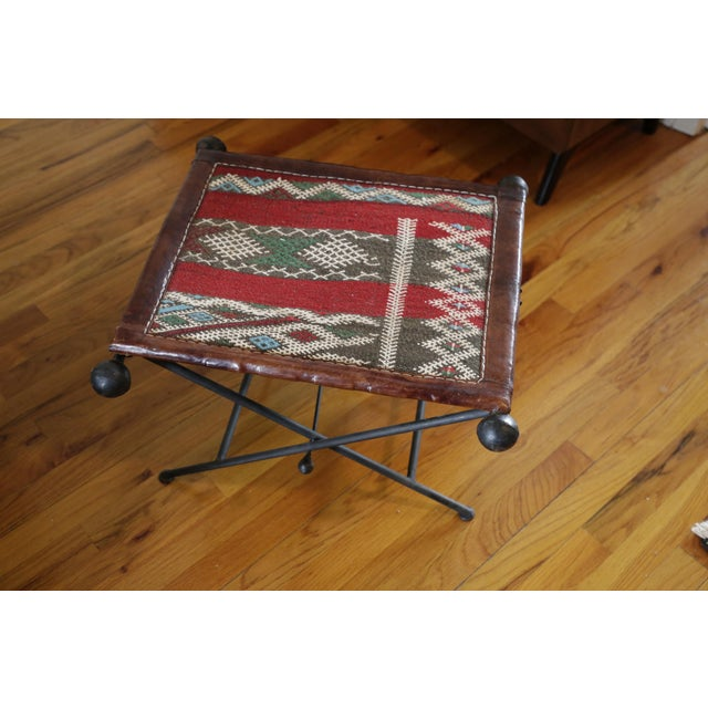 Red Funky Moroccan Seat/Chair Leather, Iron and Kilim For Sale - Image 8 of 8
