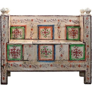 Blush Hand-Painted Wooden Bench For Sale