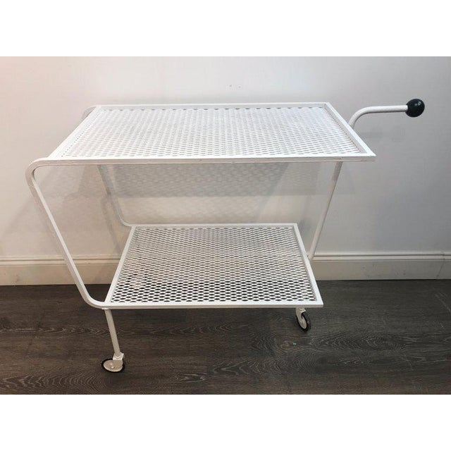 White Modern Wrought Iron Bar Cart in the Attributed to Salterini For Sale - Image 8 of 10