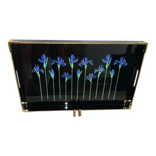 Vintage Otagiri Blue Iris Tray With Gold Trim For Sale