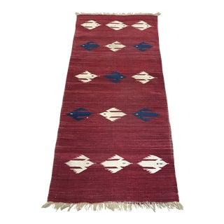 """1920s Vintage Native American Flatweave Wool Rug-2'3'x4'11"""" For Sale"""