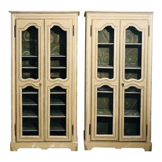 Pair of Continental Bookcase Cabinets Original Paint Decorated For Sale