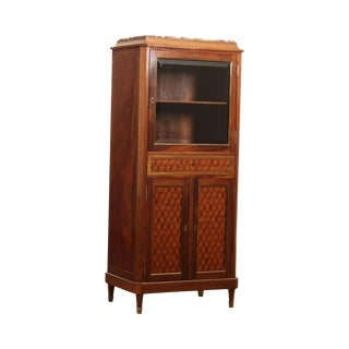Antique French Directoire Style Mahogany Vitrine Music Cabinet - 3d Geometric Inlay For Sale