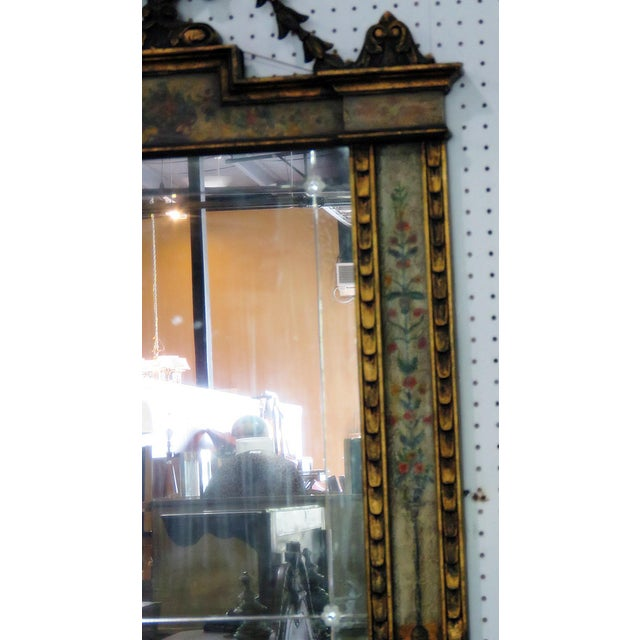 "Venetian style distressed painted console table and mirror. The table measures 33.5""h x 38""w x 15.5""d. The mirror measures..."