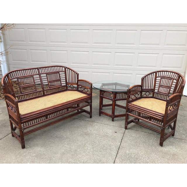 Vintage Brighton Bamboo Wicker Furniture Sofa - Set of 3 For Sale - Image 11 of 11