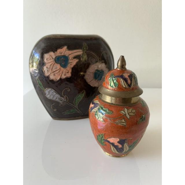Vintage brass vase and jar with lovely enameled floral designs. Beautifully etched and painted Perfect little gift for...