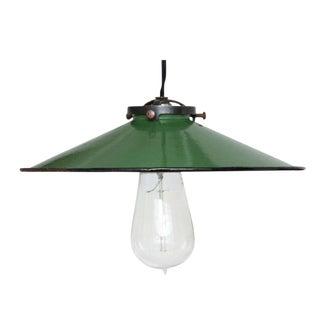 Vintage French Green Enamel Pendant Light For Sale