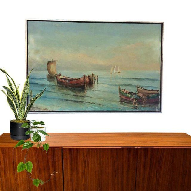 1960s Vintage Boats at Sea Amalfi Coast Oil on Canvas Painting For Sale - Image 10 of 11