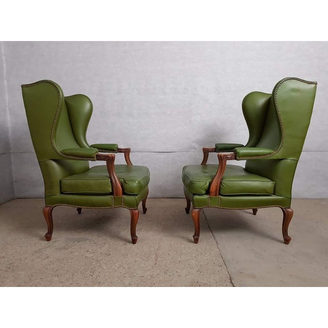 Queen Anne Vintage Mid 20th. C. Queen Anne Style Wing Sofa and 2 Wing Armchairs Suite For Sale - Image 3 of 13
