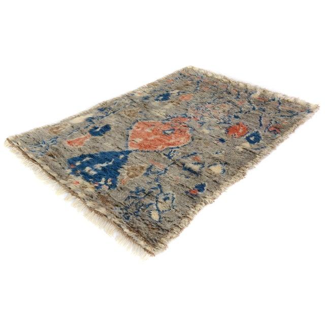 "Moroccan Arya Brendon Gray & Blue Wool Rug - 4'8"" x 6'9"" - Image 3 of 8"