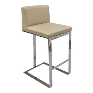 Century Furniture Savor Royce Chrome & Leather Bar Stool For Sale