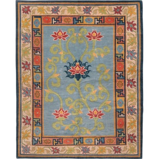 """Traditional Blue and Golden-Beige Nepalese Wool Rug-5'6'x6'10"""" For Sale"""