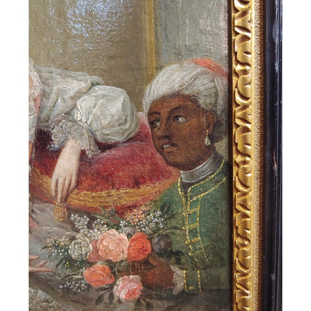 """18th Century """"Aristocratic Lady & Her Black Slave"""" Oil Painting by Friedrich Ludwig Hauck For Sale In Los Angeles - Image 6 of 10"""