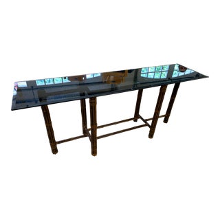 McGuire Bamboo Rawhide and Glass Console Table For Sale