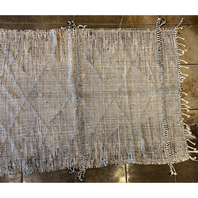 Contemporary Black and White Moroccan Area Rug For Sale - Image 4 of 5