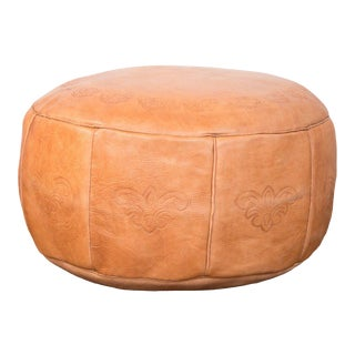 Antique Revival Leather Moroccan Pouf Ottoman - Camel Brown For Sale