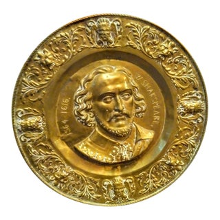 Huge Vintage William Shakespeare Face Brass Wall Decor Plate For Sale