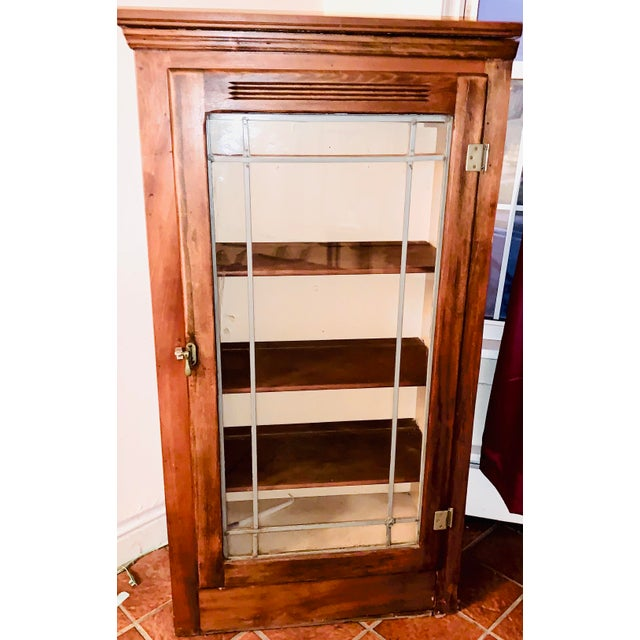 Metal Mid 19th Century Display/China Cabinet With Shelving Drawer and Full Glass Door With Leaded Detail For Sale - Image 7 of 7