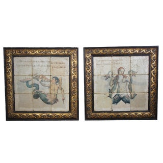 Late 20th Century Italian Nude Mermaid & Merman Hand-Painted Ceramic Tile Murals - A Pair For Sale