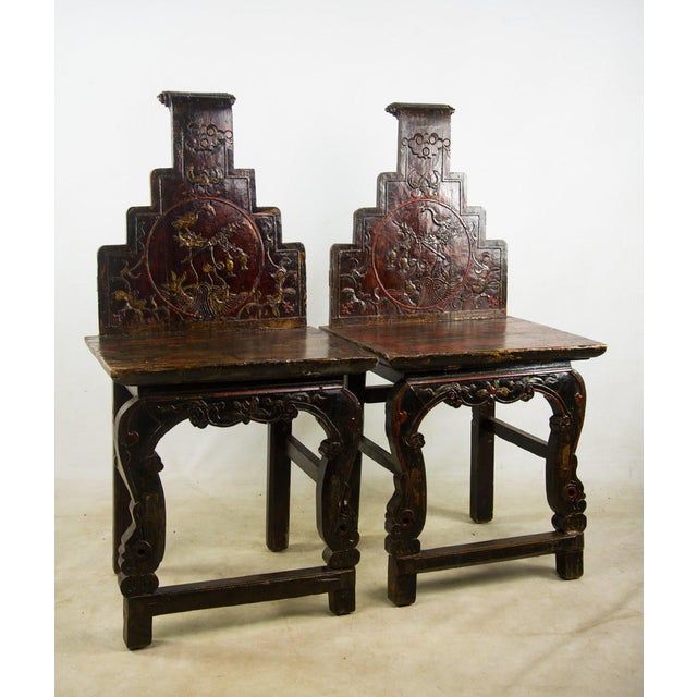 Qing Chinese Accent Carved Hall Chairs - a Pair For Sale - Image 11 of 11