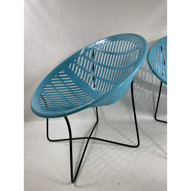 Mid Century Howard Johnson Hotel Blue Solar Lounge Chairs. Both chairs are in great shape for there age. Plastic shows...