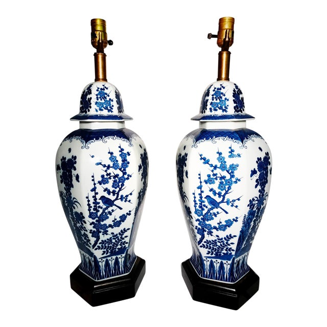 Frederick Cooper Blue and White Ginger Jar Table Lamps - Pair For Sale