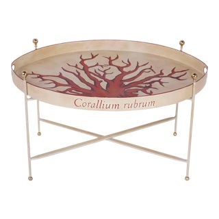 Vintage Tole Tray Table with Red Coral For Sale