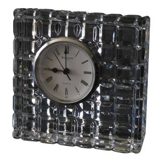 Waterford Giftware Crystal Block Prism Cube Pattern Clock For Sale