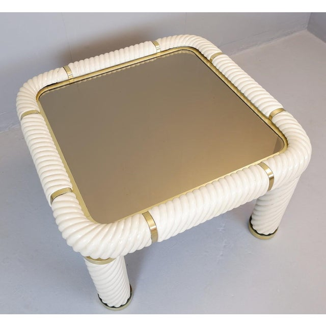 Metal 1970s Tommaso Barbi Ceramic and Brass Coffee Table For Sale - Image 7 of 8