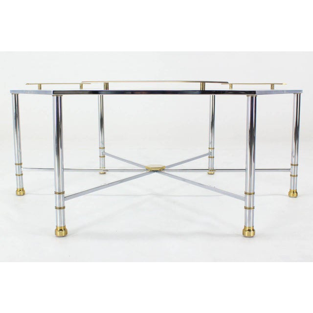 Mid-Century Modern Chrome Brass Glass Hexagon Coffee Table Maison Jansen For Sale - Image 3 of 8