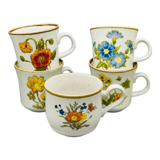 Vintage Mismatched Mikasa Floral Coffee Mugs- Set of 5 For Sale