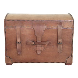 Hancock & Moore Dome Top Leather Storage Trunk For Sale