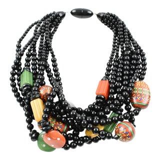 Angela Caputi Multicolor Resin Multi-Strand Choker Necklace For Sale