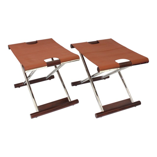 Vintage Folding X-Sling Stools in Leather, Stainless Steel and Mahogany a Pair For Sale