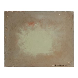 """Mid 20th Century """"Green Burst"""" Minimalist Abstract Oil Painting by Newton Haydn Stubbing For Sale"""