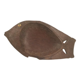 Papua New Guinea Hand Carved Fish Serving Bowl