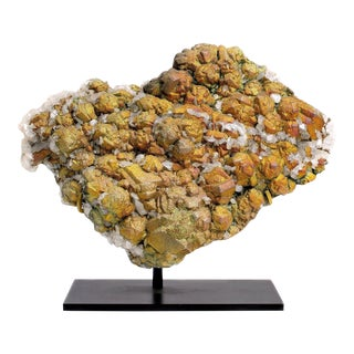 Chalcopyrite Crystals on Calcite For Sale