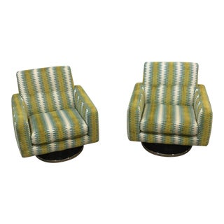 Vintage Mid Century Swivel Chairs- A Pair For Sale