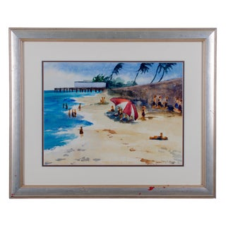 1949 Watercolor Beach Scene Painting For Sale