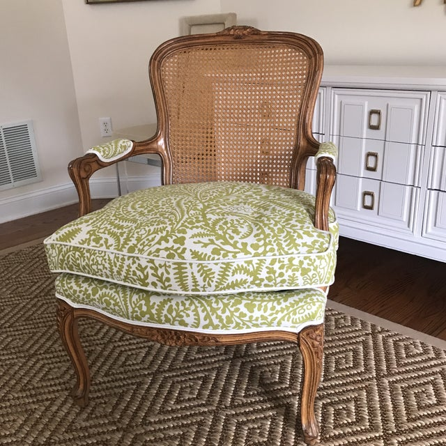 Vintage Cane French Louis Chair Raoul Textiles Fabric - Image 7 of 7